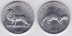 DRC 25 centimes weasel