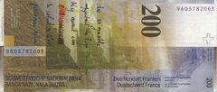 Switzerland 200 CHF rev