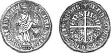 Aachen groschen with standing Charlemagne