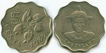 Swaziland 5 cents 1986
