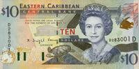 East Caribbean 10 dollar banknote