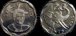 Swaziland 20 cents 2015