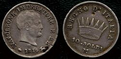 Kingdom of Italy 10 soldi 1814M