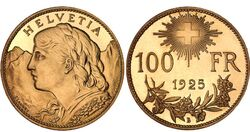 100 CHF Vreneli 1925