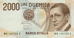 Italian 2000 lira banknote obverse