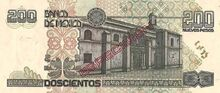 Mexico 200 pesos specimen 1992 rev