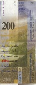 Switzerland 200 CHF rev v