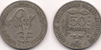 West African 50 franc coin