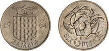 Zambia 6 pence 1964 VM