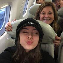 Abby and Kalani on flight to Yucatan