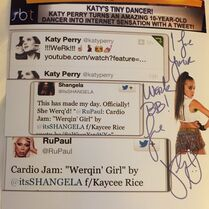 KatyPerry signing autograph to Kaycee Rice near to Super Bowl 1Feb2015