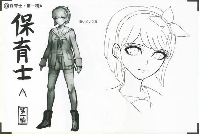 File:Art Book Scan Danganronpa V3 Character Designs Betas Maki Harukawa (1).png