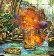 Plant monster on fire
