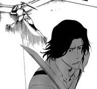 Ichigo in Fullbring form assaulting Tsukishima