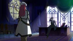 Hazama gives Tsubaki her orders