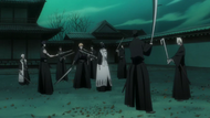 Ichigo surrounded by Soul reapers