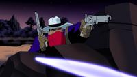 Vigilante in action against Hawkmen