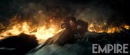 Superman flying through a wasteland