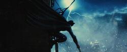 Batman preparing to run from Doomsday