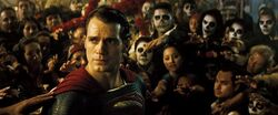 Superman being worshipped by Day of the Dead followers