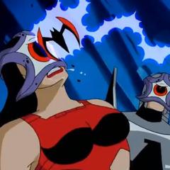 Batman throwing the electro-batarang to free Barda from mind control.