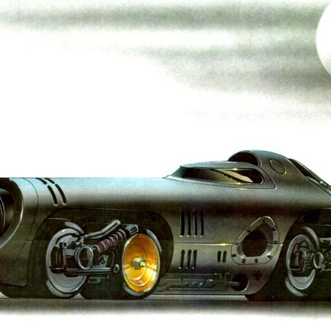 Concept art for <i>Batman Returns</i> Batmobile.