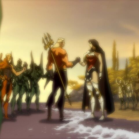 Arthur and Diana make  a truce on the shores of Themyscira.