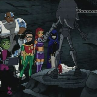 The Titans at Terra's funeral, where she's posthumously given back her status as a Teen Titan.