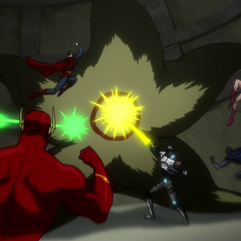 The Justice League up against Starro.