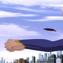Supergirl flying.