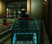Dead rising store zombie with shopping cart entrance plaza