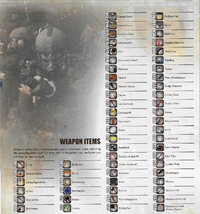 Official guide weapon list page 1 of 2
