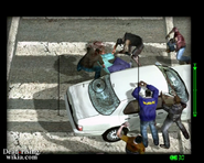 Dead rising helicopter shot of white car man