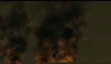 Dead rising helicopters over burning city