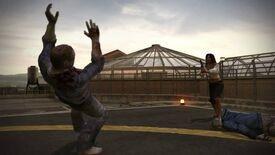 Isabela shoots a zombie on helipad
