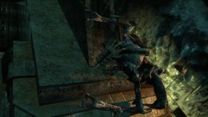 Alien necromorph prepairing to jump