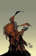 Spawn - Spawn holding a skull and looking at it