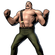 Final Fight - Mike Haggar doing his victory stance as seen in Ultimate Marvel vs Capcom 3