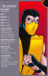Mortal Kombat - Scorpion's Profile as seen in the 1990s Comics