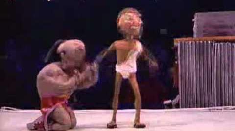 Celebrity Deathmatch Ghandi vs Dschinges Kahn