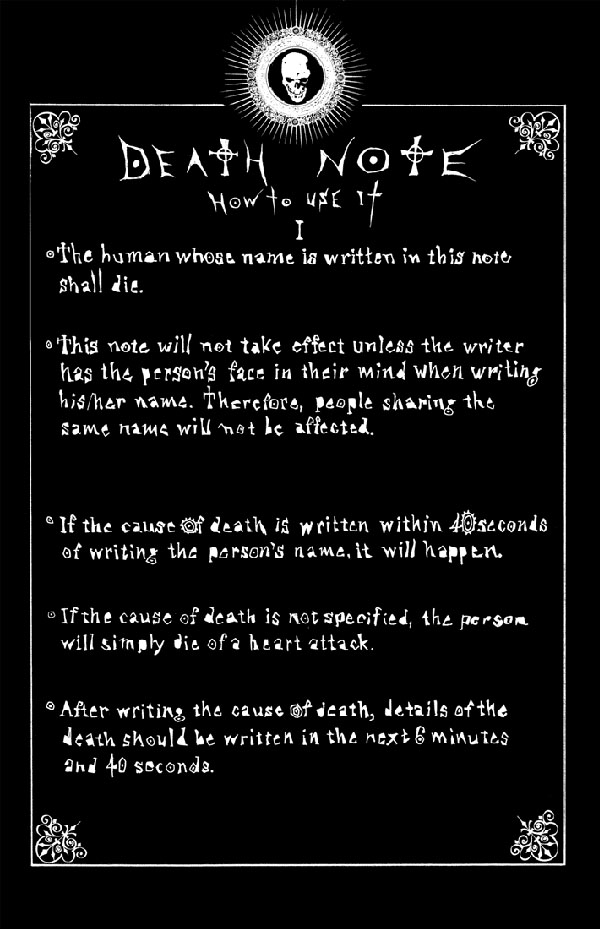 Rules of the Death Note Death Note Wiki – Death Note