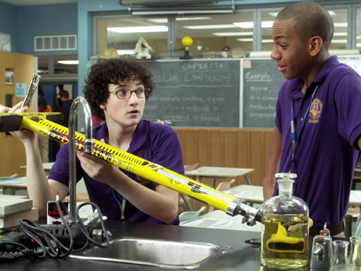File:Wesley & Dave In Their Degrassi Uniforms In Degrassi's Science Room With Wesley Holding His Pogo-Stick.jpg