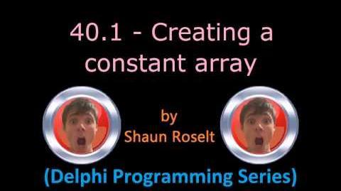 Delphi Programming Series 40.1 - Creating a constant array