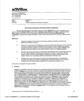 Bungie activision contract page 1