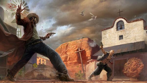 640x363 9232 Legend of the Triggermen 2d illustration cowboy wild west picture image digital art