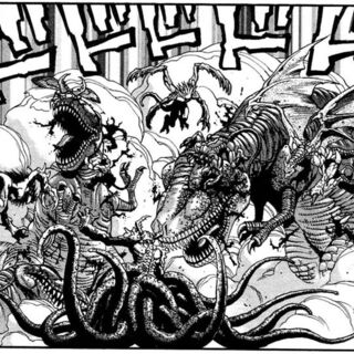 A group of demon fight off the Tyrannosauruses