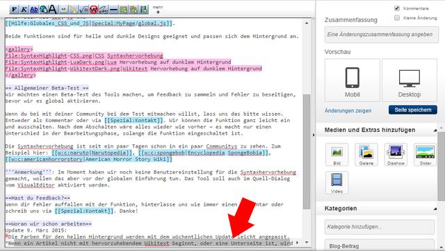 Datei:Code-Editor Syntaxvorhebung - transparente Scrollbar.png
