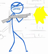 Blue in zombies and shotguns