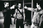 Die Hard (1988) BTS with Rickman, Willis and McTiernan
