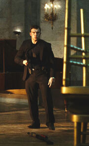 Die Hard 5- terrorist henchman shot by McClane Jr.
